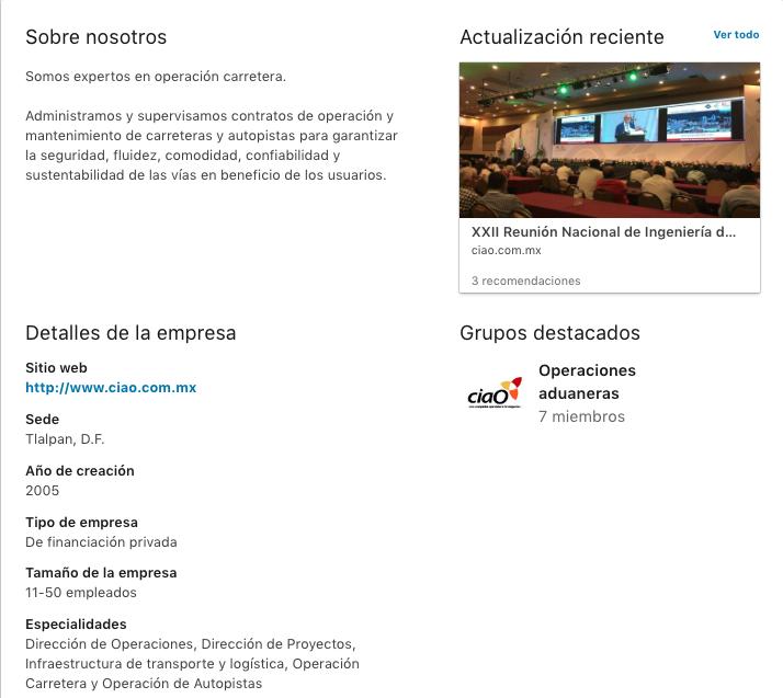 Proyecto: Redes Sociales - LinkedIn | Cliente: ciaO | Cielo Rojo Comunicación Digital