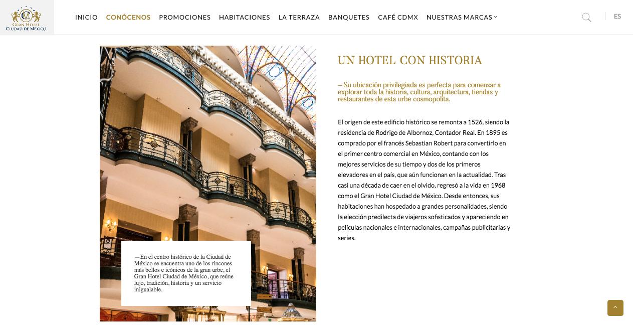 Proyecto: Redacción de Contenidos para Sitio Web   Cliente: Gran Hotel de la Ciudad de México   Cielo Rojo Comunicación Digital