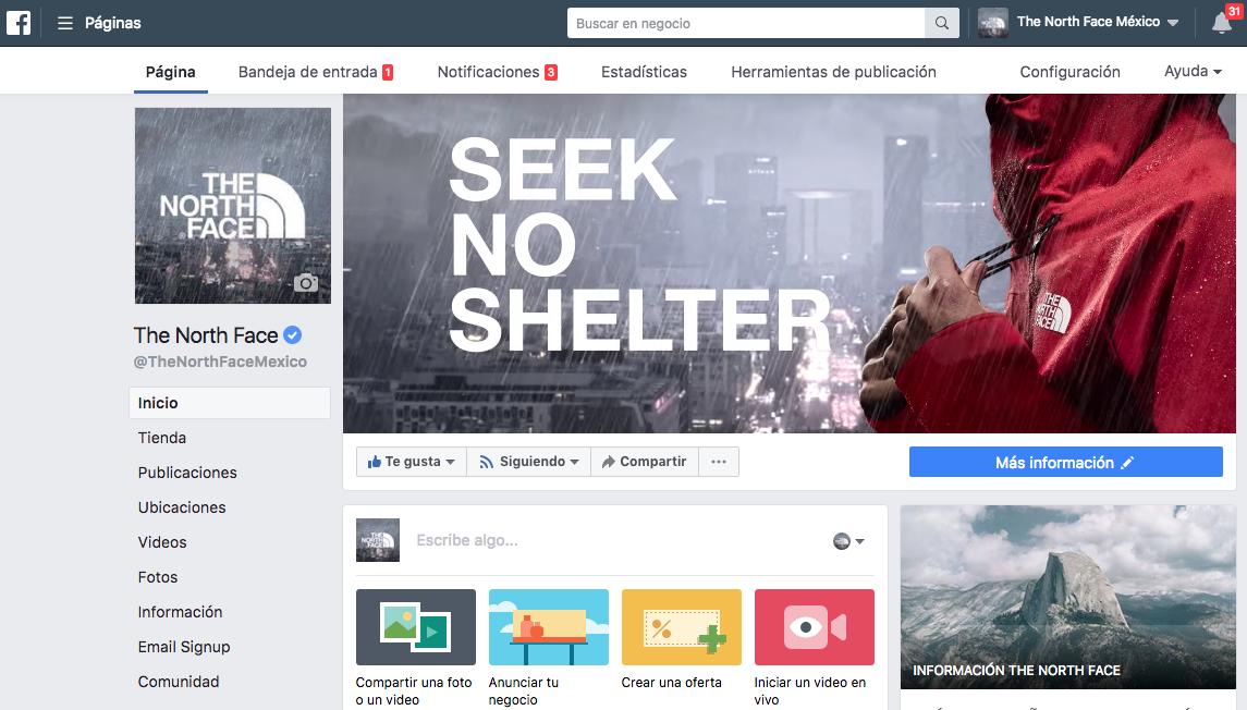The North Face México - Facebook - Agencia Cielo Rojo Comunicación Digital