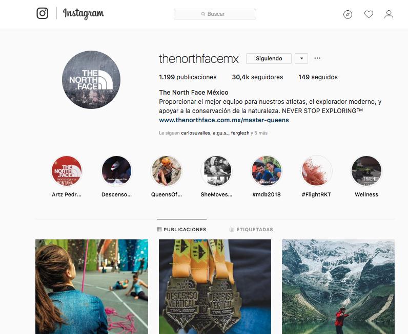 The North Face México - Instagram - Agencia Cielo Rojo Comunicación Digital