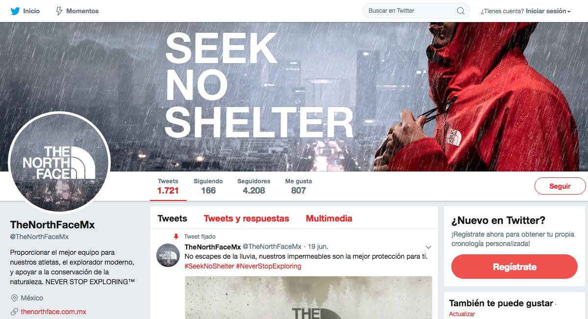 The North Face México - Twitter - Agencia Cielo Rojo Comunicación Digital