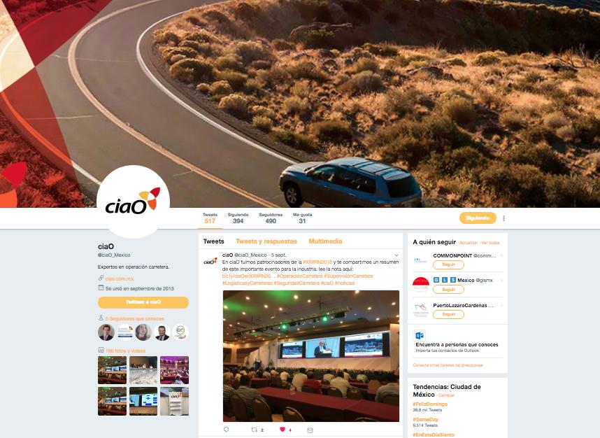 Proyecto: Redes Sociales - Twitter   Cliente: ciaO   Cielo Rojo Comunicación Digital